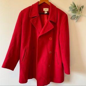 L.L. Bean Red Wool Pea Coat
